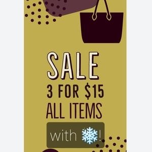❄Sale 3 items for $15❄